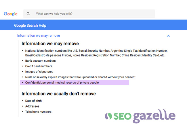 seo gazelle google medical records update